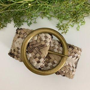 3/$15 ⚠️ Tan Textured Woven Wide Belt